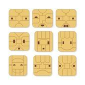 Sim Card Faces — Stock Vector
