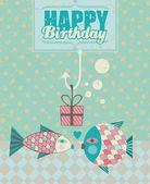 Fish Birthday Card — Stock Vector