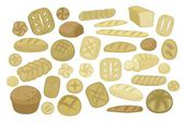 Various Breads Set — Stock Vector