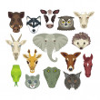 Animal Heads Set — Stock Vector