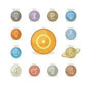 Planetary Icons Pack — Stock vektor