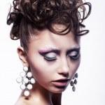 Hair salon concept - festive hairdo. Stylish hairstyle — Stock Photo #12466271