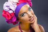 Colorful shawl. Pretty woman face - bright gold make up — Stock Photo