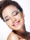 Fashion model cheerful girl - pleasure and joy — Stock Photo