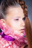 Bellezza naturale - moda donna faccia, luminoso trucco — Foto Stock