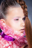 Natural beauty - fashion woman face, bright make up — Stock Photo