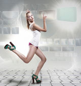 Creative fashion woman running on laptop template — Stock Photo