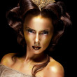 Woman gilded golden face - theater luxury make up — Stock Photo #13284765