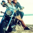 Happy young love couple on scooter enjoying - travel — Stock Photo