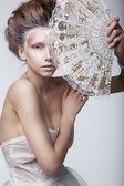 Skönhet kvinna i rertro klänning. retro vintage stil, renässans — Stockfoto