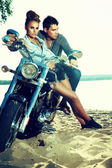 Happy young love couple on scooter enjoying - travel — Foto Stock