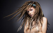 Beautiful sexy fashion woman with dreads. Glamour — Stock Photo