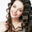 Fashion smiling bride in wedding white dress - curly hairstyle — Stock Photo #13508499