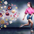 Stock Photo: Escape. Resolute running woman refuses to eating tasty cakes and chocolate. Diet concept