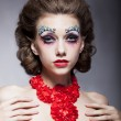 Stock Photo: Fashion beautiful theatrical actress young bright woman in necklace - red lips