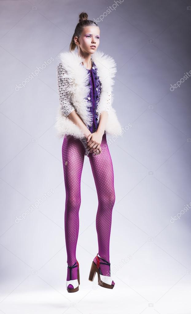 Modern Lifestyle Fashion Woman Model Posing In Pink Stockings Stock Photo Gromovataya