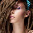 Dreadlocks. Fashion hairstyle with dreads - beauty womface — Stock Photo #13855668