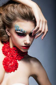 Theatre. Performance. Fashion woman. Bright stagy make-up — Stock Photo
