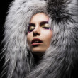 Beautiful young sensual womin fur fashion collar — Stock Photo #14299155