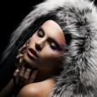 Beautiful tempting woman in a coat with silver fox fur collar — Stock Photo