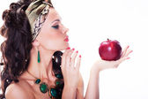 Beautiful oriental woman with red apple - organic natural meal — Stock Photo