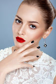 Portrait of beautiful female model with gorgeous red lips — Stock Photo