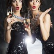 Congratulation! Fashion with wine glasses of champagne - cheers! — Stock Photo