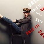 Happy delightful shopper - eve xmas sales concept. Fantasy — Stock Photo