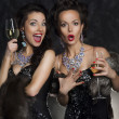 Couple of women celebrating birthday in restaurant. Holidays — Stock fotografie