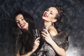 Joy. Elation. Rich woman laughing with crystal of champagne — Stock Photo