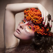 Rowan berry - autumn wreath. Retro style. Beauty woman face - Stock Photo