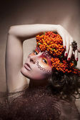 Rowan berry - autumn wreath. Retro style. Beauty woman face — Stock Photo