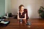 Strict business woman consultant in modern office interior — Stock Photo