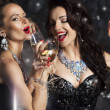 Stock Photo: Happy Laughing Women Drinking Champagne and Singing Xmas Song