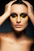 Sensual Woman with Closed Eyes - False Lashes, Bright Makeup — Stock Photo