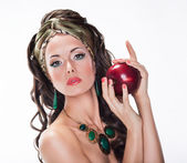 Nutrition. Beauty Woman with Red Apple on white background - Wholesome Food — Stock Photo