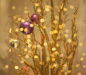 Christmas Tree Decoration - Glittering Golden Bokeh Background — Stock Photo