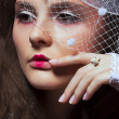 Stock Photo: Vintage Fashion Model. Retro Portrait. Veiled Womclose up
