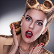 Stock Photo: Shopping - Surprised Retro Woman Shopper