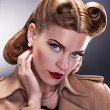 Vintage Style - Aristocratic Woman with Retro Hairstyle — Stock Photo