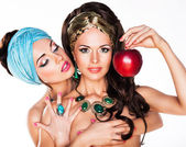 Sensuality. Women Hugging and Holding Red Apple — Stock Photo