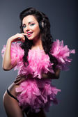 Sexy Desirable Woman in Pink Feathers Dancing - Nightlife — Stock Photo
