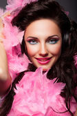 Happy Fashion Woman Face with Feathers Closeup Portrait — Stock Photo