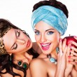 Two Happy Women holding Apple - Healthy Food concept — 图库照片