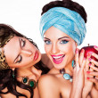 Two Happy Women holding Apple - Healthy Food concept — Stok fotoğraf