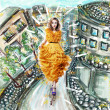 Stock Photo: Fantasy. Futuristic Modern Womin Fashion Dress walking. UrbScenery Illustration