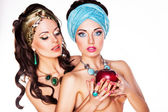 Two Embracing Naked Women with Red Apple - Performance — Stock Photo