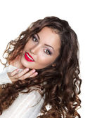 Romantic Curly Brunette Girl in White Warm Sweater - Elation — Stock Photo