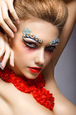 Perfect Fashion Woman Face with Strass - Bright Eye Makeup. Theater — Stock Photo