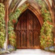 Wooden Church Ancient Door. Antique Retro Archway and Doorway - Stok fotoraf